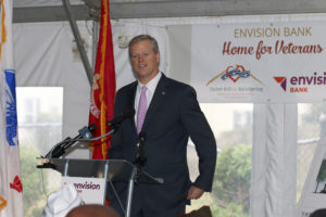 Governor Charlie Baker Speaks at the Groundbreaking Ceremony at 26 Moulton Street, Randolph, the Site of the New Envision Bank Home for Veterans